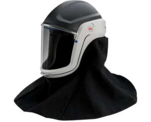 A 3M Respiratory hood with a polycarbonate face mask.