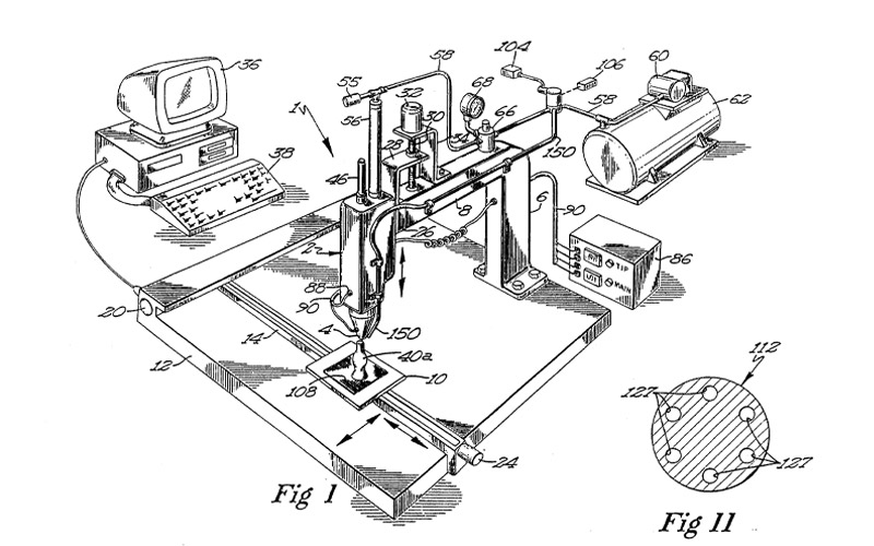 Patent Drawing for First 3D Printer